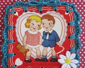 Recycled Vintage Valentine's Day Greeting Card - Cutie Couple Crochet Ornament