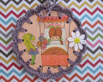 Recycled Vintage Illustration - Crochet Get Weill Soon Ornament / Card / Tag
