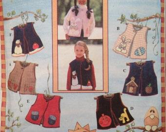 Girl's Seasons Vest Pattern - Simplicity 7366 - Just be Cuz -size 2,3,4