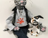 Cat Doll - Art Doll - Polymer Clay - Biker Tiger Cat Doll with Dog - One of a Kind - OOAK - Gift for Cat Lovers