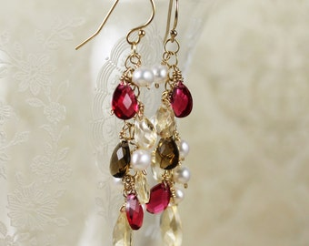 Topaz, Brown, Red Faceted Glass Teardrop, Freshwater Pearl and 14k Gold Fill Long Cascade Earrings