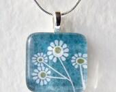 Handmade Glass Tile Daisies Pendant