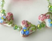 Artisan Floral Lampwork Hearts Bracelet w Peridot Swarovski Crystals