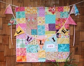 Baby Gift Bundle. Minky Backed Patchwork Blanket with Matching Personalized Bunting. Custom Crib, OOAK You Choose Color Scheme. Shower Gift.