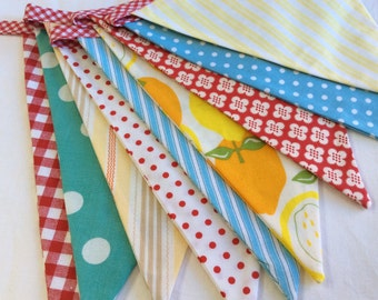Red, Yellow, Aqua Lemonade Stand Theme Fabric Bunting Flag Banner, Ready To Ship Photography Prop, Decoration.  Also For Weddings, Parties.