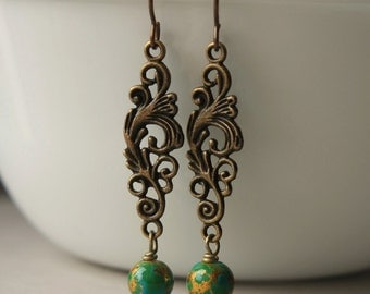 Antique Style Filigree Earrings, Green Glass Earrings, Long Dangle Earrings, Brass Tone Earrings, Green Gold