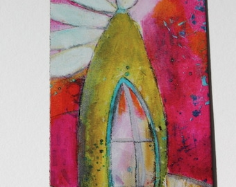 NEW Special Offer-Mini art magnets  ANGEL 'Be Still' in magenta and lime green  by Jodi Ohl