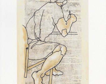 male portrait line drawing on dictionary page,  giclee print, 6 x 8 inches