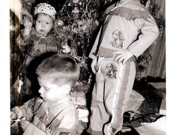 vintage photo 3 Little Indians Children in Costume w Christmas Tree