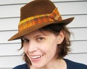 Unisex Fedora, Warm Brown Felt Hat, Orange Plaid Band, Women's Millinery, Vintage Style Handmade Hat, Men's Fedora, Size 7 1/4, Autumn