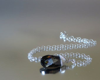 Silver Shadow Swarovski Crystal  Briolette, Wire Wrapped Necklace, Sterling Silver Chain, Dark Necklace, Grey Necklace