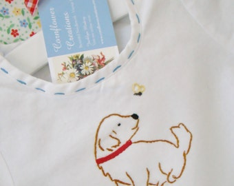 Puppy And Friend - Hand Embroidered Vintage Style Romper for Boy or Girl - Pink or Blue