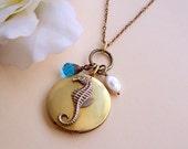 Seahorse Locket Necklace, Vintage Seahorse Locket Necklace, Vintage locket necklace, Photo locket necklace, Seahorse Long Necklace