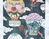 Hot Air Balloons XI - Multimedia - Lino Block Print Historic Hot Air Balloons in Cloudy Sky with Collaged Japanese Papers & Ephemera
