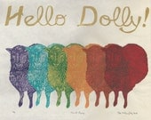 Hello Dolly Cloned Sheep Linocut - Lino Block Print of First Genetically Cloned Sheep - History of Science Rainbow Print