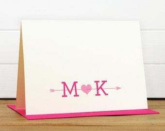 Personalized Stationery Set / Personalized Stationary Set - ARROW Custom Personalized Note Card Set - Monogram Wedding Couples Engagement