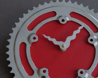 Bicycle Gear Clock - Vintage Red  |  Bike Clock  | Wall Clock | Recycled Bike Parts Clock