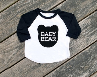 Baby Bear Black Raglan Sleeve Baseball TShirt with Black Print - Infant and Toddler Sizes - Family Photo Outfit, Birthday Gift, Baby Shower