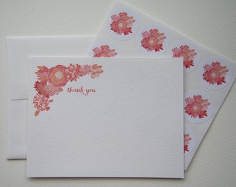 Pink Posies Personalized Stationery or Thank You Notes and Sticker Set