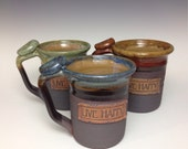 Live Happy, hand made ceramic, personalized pottery, ooak, gift, for him, for her, Ready to ship