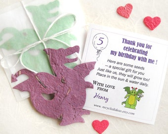 12 Plantable Dragon Birthday Party Favors with Flower Seeds - Plantable Paper Dragons