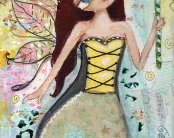 Fairy Painting, Original Mixed Media painting, big eyed, Children's art, whimsical art, Girl painting