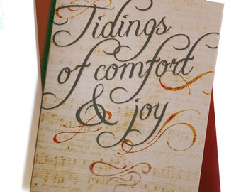 Christmas Cards / Holiday cards - Set of 8 - Music Typography Tidings