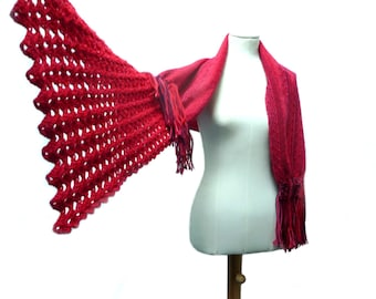Handwoven and Crochet Shawl Scarf - Cherry Red Coral Burgundy Purple Wool Stole with Crochet Lace and Wood Brooch Button - MADE TO ORDER