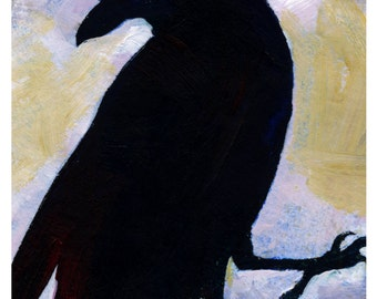 Crow No. 3 ... art archival Raven bird print from original painting by Kathy Morton Stanion EBSQ