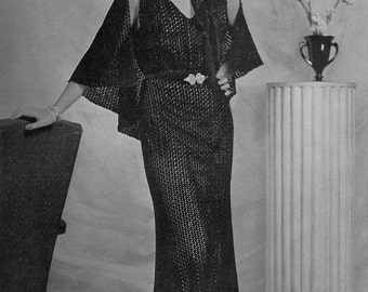 Crocheted Lace Evening Gown - Vintage 1930s Dress Pattern - PDF eBook