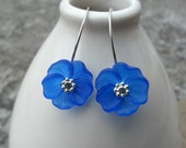 Lucite Flower Earrings Cobalt Blue with Sterling Silver