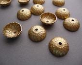 6 Brass Acorn Bead Caps