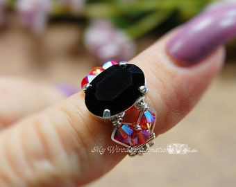Swarovski Jet Crystal or Genuine Onyx Hand Crafted Wire Wrapped Ring Original Signature Design Fine Jewelry
