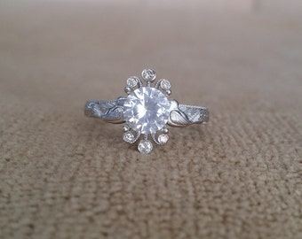 """White Sapphire and Diamond Nature Engagement Ring Birds Vintage Antique Vintage Flower 14K White Gold Art Deco Nouveau """"The Love Birds"""""""