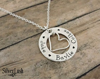 Hand Stamped Mother's Necklace with Three Names - Sterling Silver Mommy Jewelry