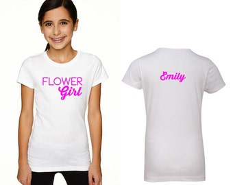 Personalized Flower Gilr shirt flower girl tshirt  tee 14 COLORS available