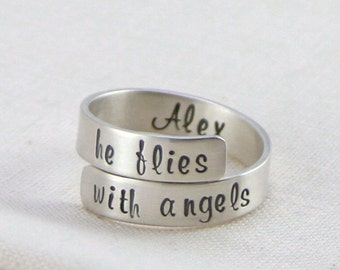 Personalized Memorial Jewelry, Miscarriage Remembrance Ring, Sterling Silver Secret Message Ring, She / He Flies With Angels