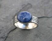 Blue Planet Sodalite Sterling Silver Ring, Denim Blue Oval Cabochon, Scallop Dot Design, Wide Pattern Design Ring Band, Navy Blue Statement