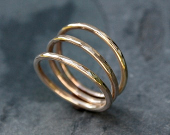 14k gold fill Stacking Rings, Stack of Three Hammered Rings, Handmade Ring Bands, 14 karat gold filled Rings