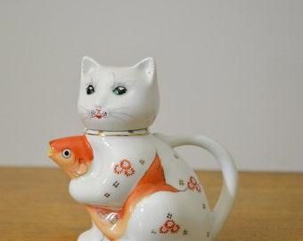 Vintage Ceramic Cat with Fish Tea Pot or Creamer