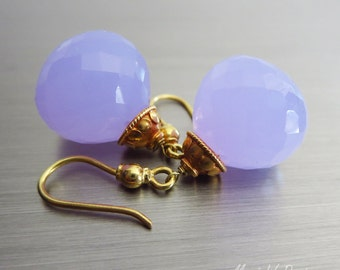 18K Rare 30ct Natural Holly Holley Blue Chalcedony-18k Solid Yellow Handmade Gold Dangle Earrings