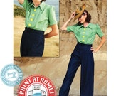 E-Pattern- Smooth Sailing 1930s Sport Togs- Blouse & Trousers Pattern- Size Pack B- Wearing History