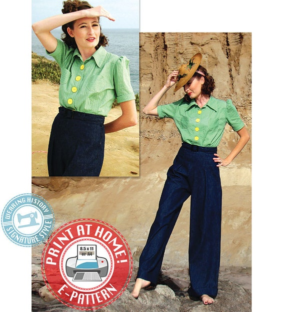 1930s Dresses, Clothing & Patterns Links 1930s Sport Togs- Blouse & Trousers Pattern- Size Pack B- Wearing History $16.00 AT vintagedancer.com
