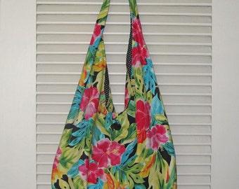 Slouch Shoulder Bag Hawaiian Hibiscus Fabric Design