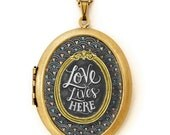 Art Locket - Chalkboard Art Locket Necklace - Inspirational Quote Jewelry - Love Lives Here