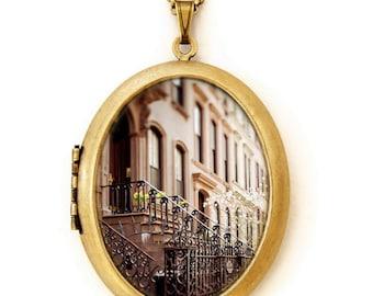Photo Locket - The Apartment - NYC Greenwich Village Architecture Photo Locket Necklace
