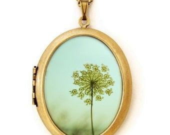 Simplexity - Photo Locket - Dandelion Flower Mint Green Photo Locket Necklace