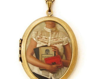 Art Locket - The English Major - Portrait with Books Oil Painting Reproduction Art Locket Necklace