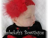 Red baby headband, marabou feather headband, infant headbands, red infant bows, Christmas baby headband, Valentines Day headband, unique bow
