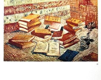 Van Gogh Art - Still Life with Books, Le Moulin de la Galette - 1965 Vintage Book Page - Reproduction Print 2 Sided - 11 x 9